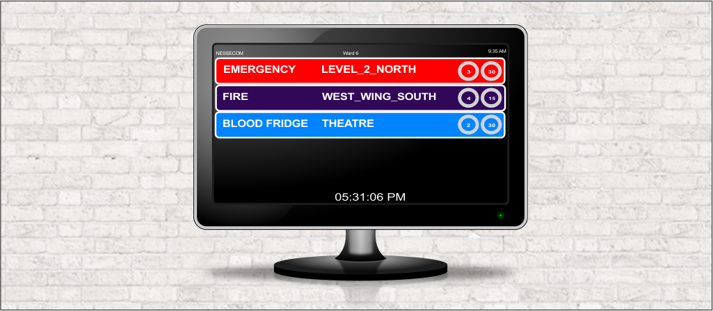 Nessecom Emergency system displaying fire, emergency, and blood fridge